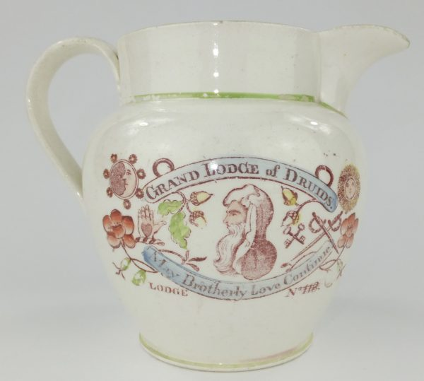 Creamware Pottery Druid Masonic Pitcher Jug