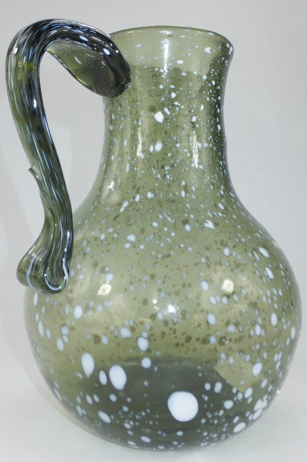Large Pontilled Nailsea Glass Aqua Pitcher Jug