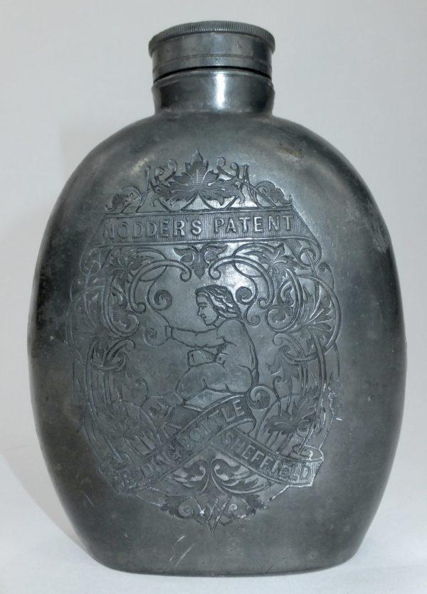 Rare Nodders Patent Metal Feeding Bottle Flask Sheffield