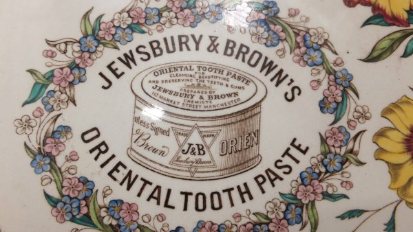Prattware Pottery Advertising Plate Jewsbury & Brown Toothpaste