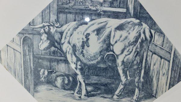 Large Mintons Cow & Calf Butchers Shop Pottery Tile