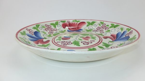 Large Spongeware Pottery Copeland Fruit Bowl
