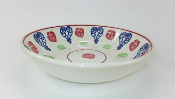Heart Spongeware Pottery Fruit Bowl