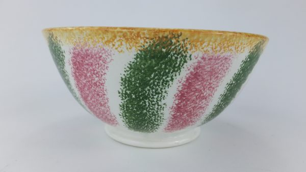 Antique Rainbow Spatterware Pottery Rice Bowl