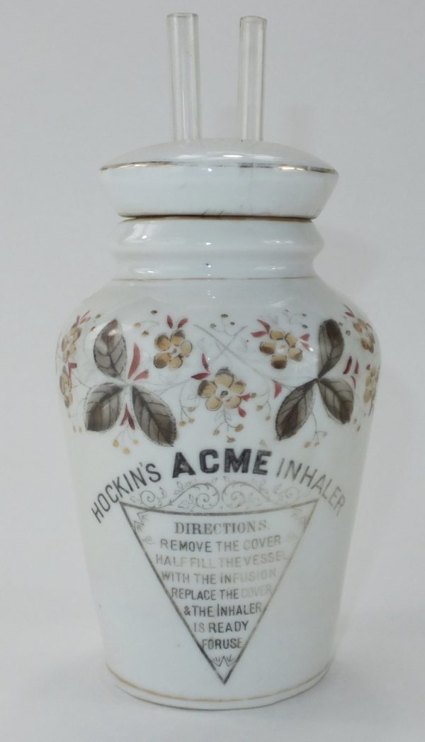 Antique Hockins Porcelain Jar Inhaler
