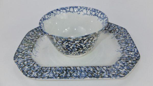 Antique Spongeware Pottery Bowl & Plate Set