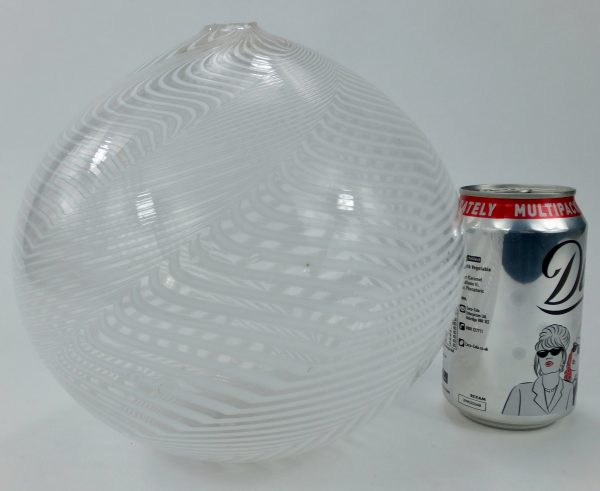 Giant White Swirl Combed Design Nailsea Glass Witch Ball