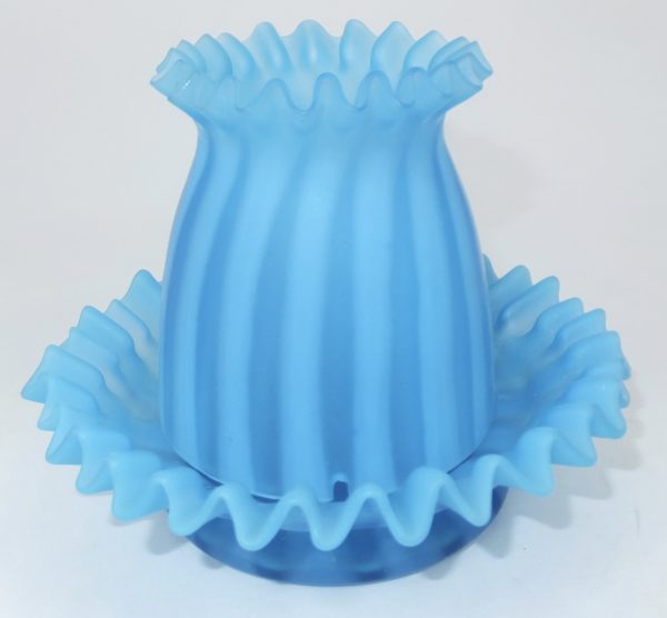 Turquoise Blue Ribbed Two Piece Glass Fairy Lamp