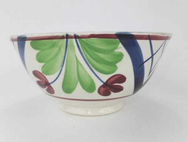 Antique Spongeware Pottery Rice Bowl Green Red & Blue