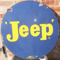 Jeep Motor Vehicle Enamel Sign