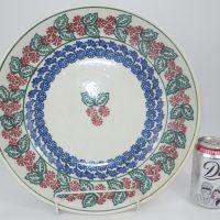 Large Spongeware Pottery Bowl Holly Pattern