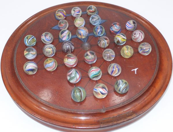 Antique Solitaire Board With Pontil Marbles 3/4 Inch