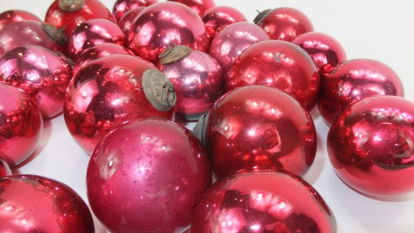 Antique Red Cranberry Glass Kugels
