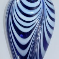 Antique Blue Glass Nailsea Looped Flask