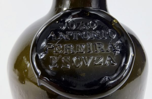 Antique Glass Joao Antonio Pereira E,Souza Sealed Port Bottle Portugal
