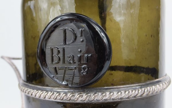 Dr Hugh Blair 1778 Sealed Antique Wine Bottle & Coaster Edinburgh Scotland
