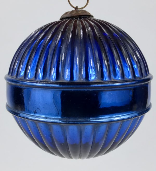 Rare Antique Blue Glass Saturn Ring Ribbed Mercury Christmas Kugel Ornament