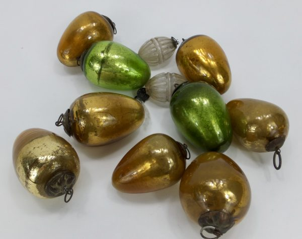 Antique Coloured Egg Shaped Glass Kugels