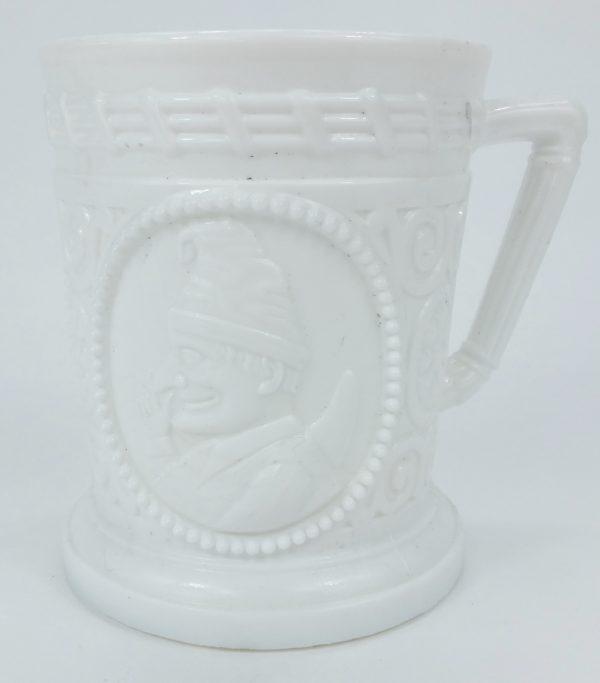 Punch & Judy Milk Glass Sowerby Davidson Mug