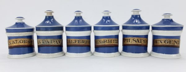 Antique Blue Pottery Drug Jars x 6