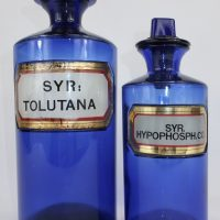 Antique Blue Glass Apothecary Bottle Syrup of Tolu