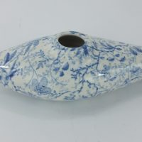 Blue & White Staffordshire Pottery Infant Baby Feeder Birds