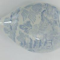 Willow Pattern Blue & White Pottery Nurser Feeder