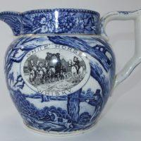 White Horse Blue & White Shelley Pottery Scotch Whisky Water Pub Jug