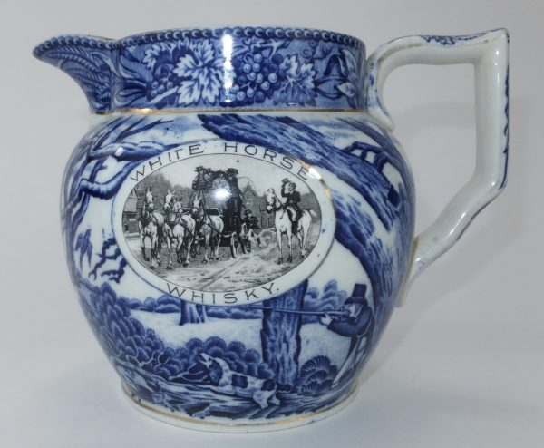 White Horse Blue & White Shelley Pottery Scotch Whisky Water Pub Jug