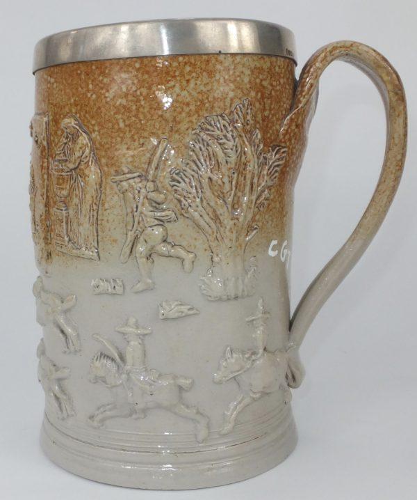 Mortlake Salt Glaze Stoneware Large Ale Beer Tankard 1793