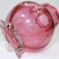 Cranberry Glass Hyacinth Bulb Vase Squat