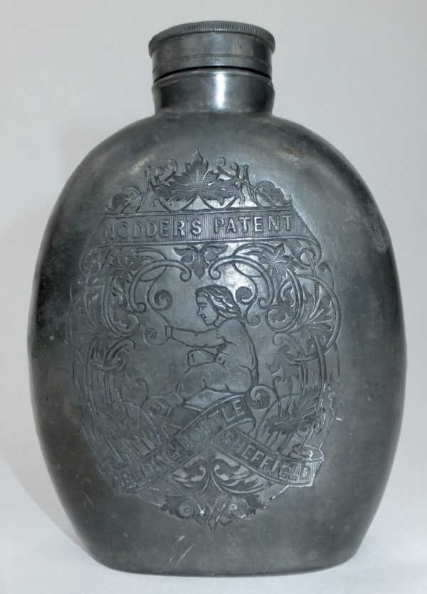 Rare Nodders Patent Metal Feeding Bottle Flask Sheffield