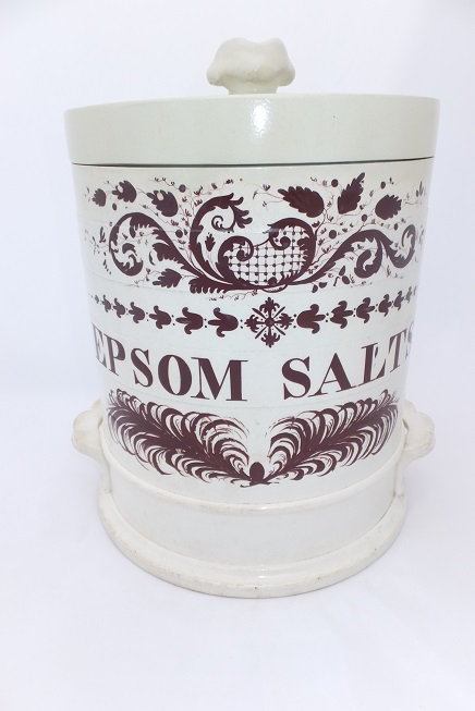 Epsom Salts Creamware Pottery Apothecary Pharmacy Jar