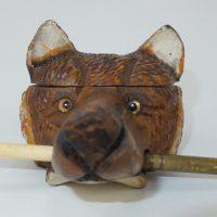 Antique Wooden Treen Swiss Black Forest Fox Inkwell