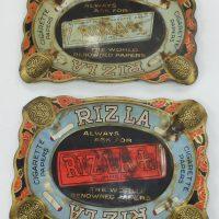 Rizla Antique Tin Plate Advertising Ashtrays
