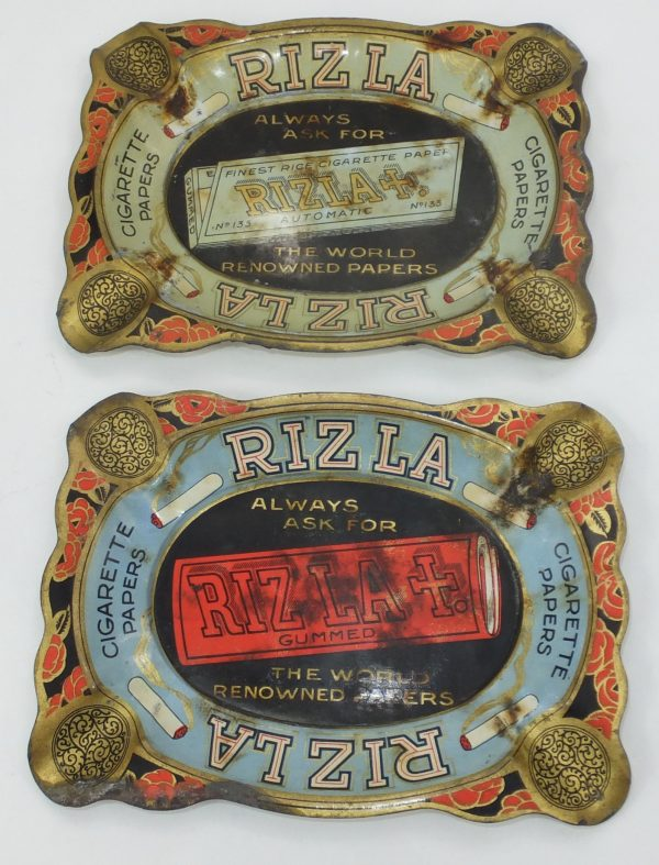 Rizla Antique Tin Plate Advertising Ashtrays