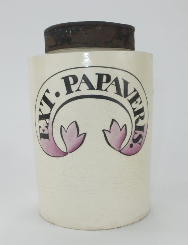 Ext Papaveris Creamware Apothecary Jar