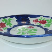 Large Spongeware Pottery Bowl Lustre Highlights