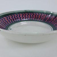Antique Zig Zag Spongeware Pottery Bowl