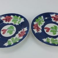 Spongeware Pottery Blue Plates Pair