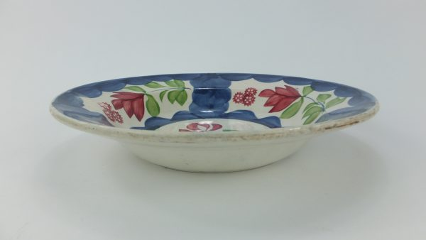 Rose Spongeware Pottery Soup Bowl
