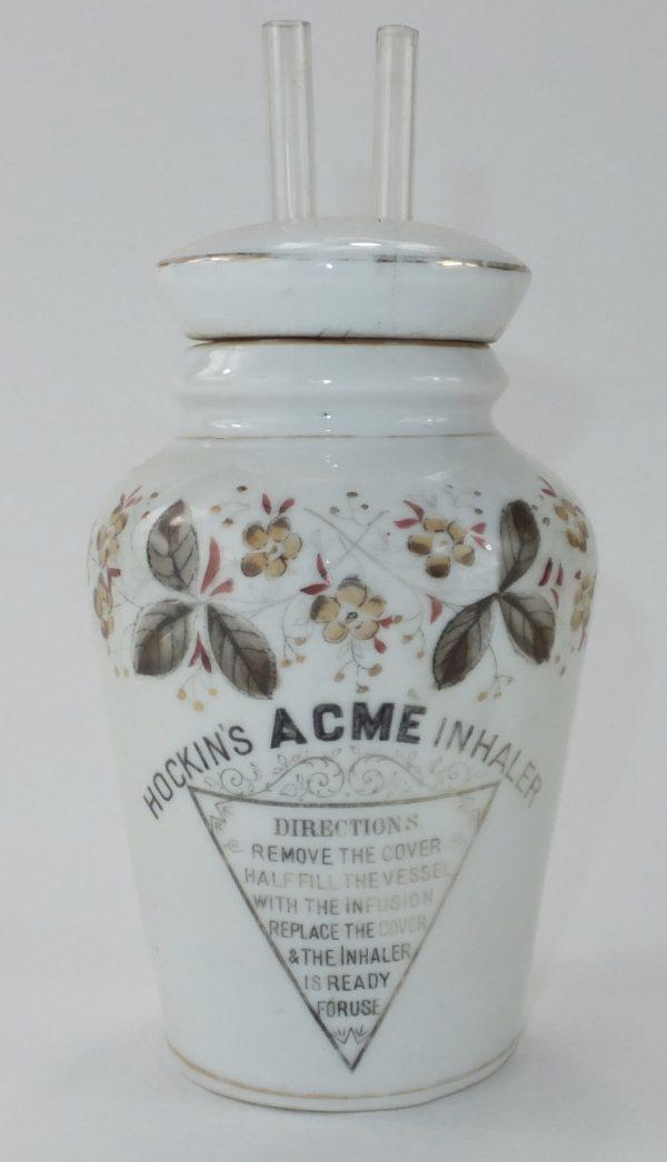 Antique Hockins Porcelain Jar Inhaler