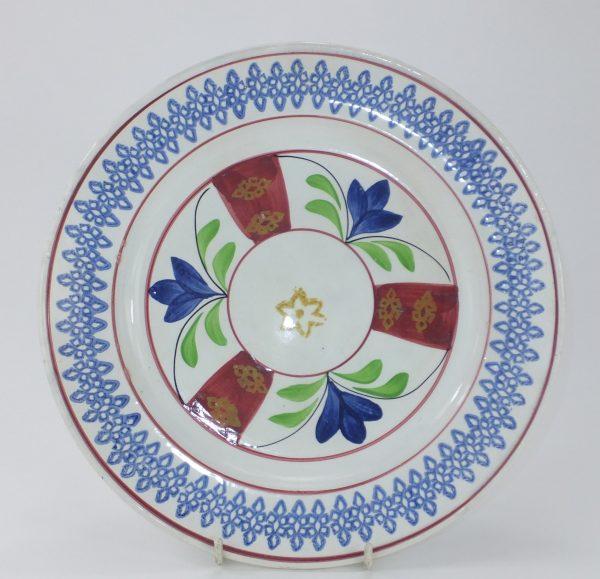 Spongeware Pottery Plate J.t. Close