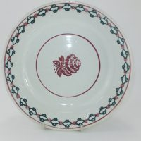 Antique Spongeware Pottery Fruit Bowl Flower