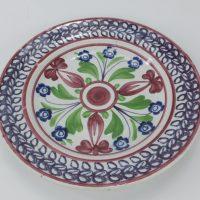 Antique Spongeware Pottery Plate Purple