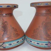 Terracotta Prattware Hyacinth Bulb Vases