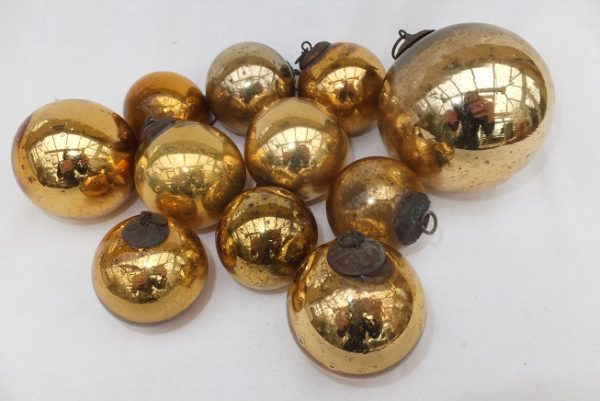 Antique Gold Glass Kugel Ornaments