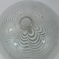 Medium Sized White Quilted Glass Kugel Nailsea Witch Ball