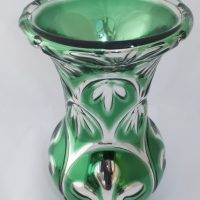 Antique Mercury Glass Vase Prince Of Wales Feathers Varnish & Co London