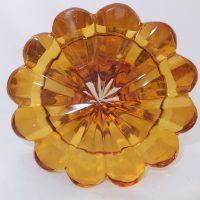 Bohemian Citrine Glass Engraved Goblet